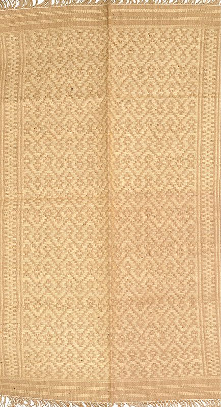 Ivory and Beige Dhurrie from Karnataka with All-Over Weave