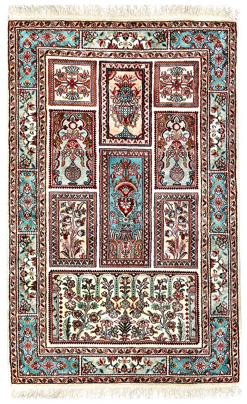 Almond-Cream Handloom Carpet from Kashmir with Knotted Flowers All-Over