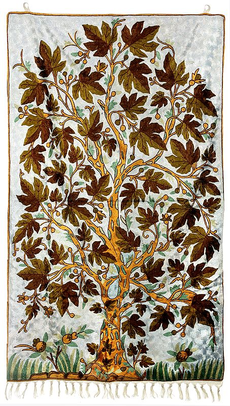 Old-Lace Wall Hanging cum Carpet with Ari-Embroidered Maple Tree in Multicolor Thread