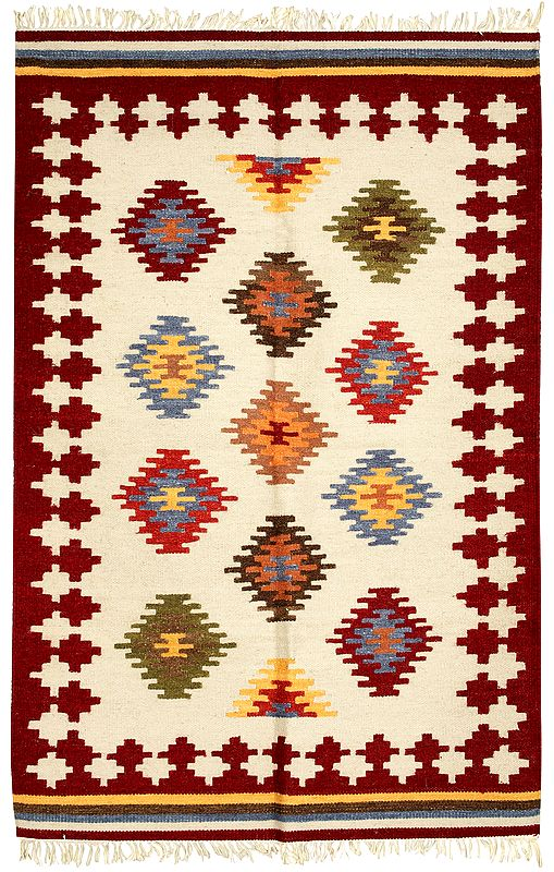 Cordovan Handloom Dhurrie from Sitapur with Woven-Motifs in Multicolor Thread