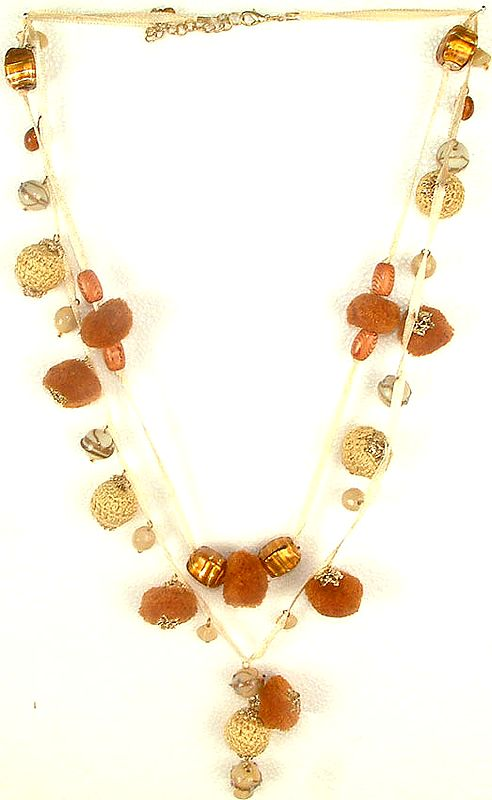 Ethnic Necklace with Pom Poms