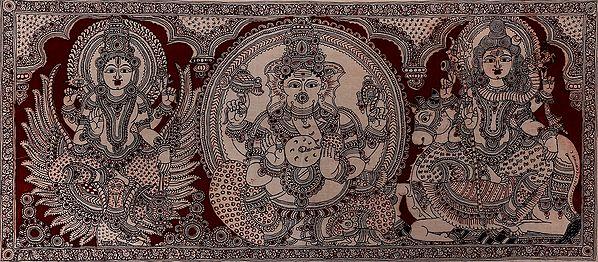 Lakshmi-Ganesha-Mahesha With Lifelike Eyes