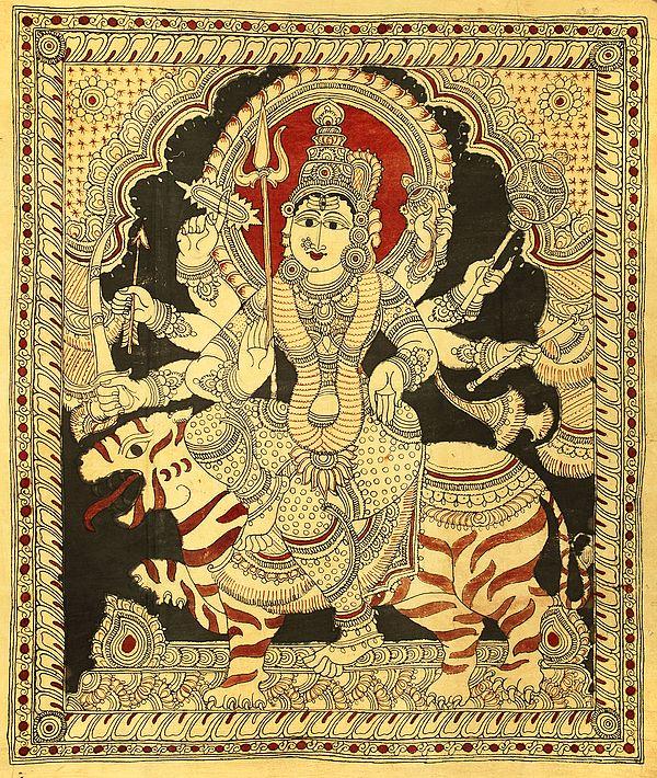 Ashtabhujadharini Durga On The Back Of A Tiger