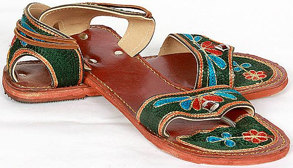 Cherry-Red Sandals with Floral Embroidery