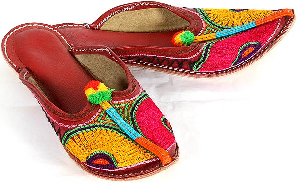 Cardinal-Red Bridal Slippers with Embroidery