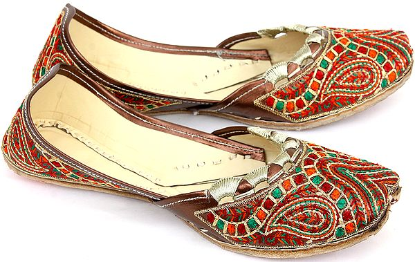Brown Mojaris with Multi-color Embroidery and Paisley