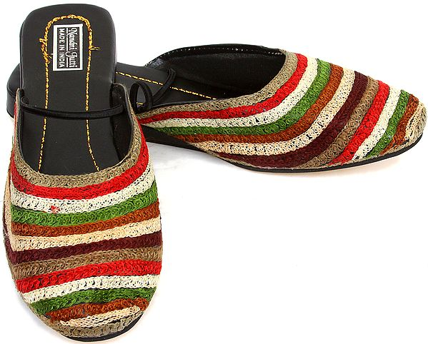 Multi-Color Embroidered Slippers