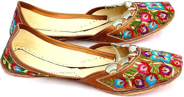 Brown-Color Jootis with Multi-Color Floral Embroidery