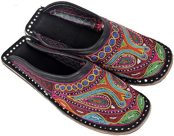 Black Phulkari Slippers with Ari-Embroidery in Multi-Color