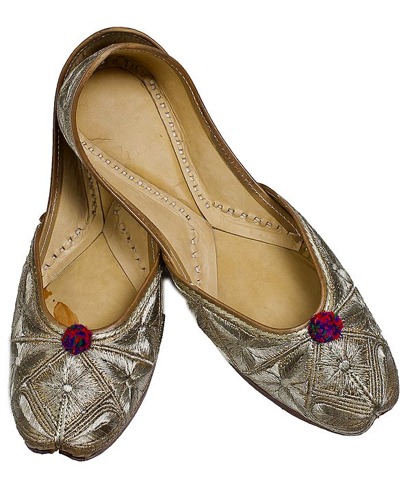 Beige Jooties with Ari Embroidered Leaves