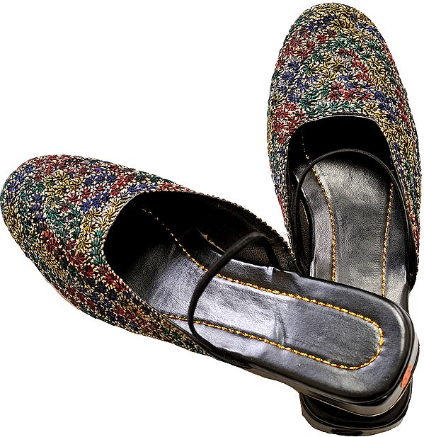 Black Slip-on Sandals with Multicolored Floral Embroidery