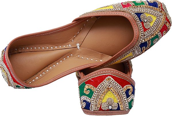 Multi-Color Designer Jootis with Zardozi Embroidery by Hand