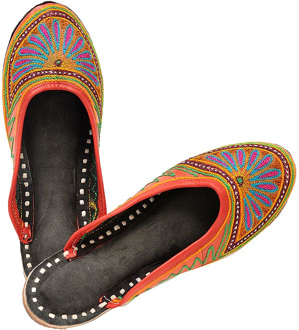Phulkari Slippers with Floral Ari-Embroidery
