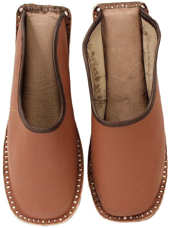 Cognac-Brown Slip-on Shoes for Men