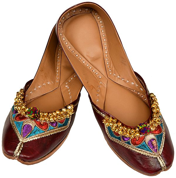 Bitter-Chocolate Jootis with Thread-Embroidery and Ghunghroos