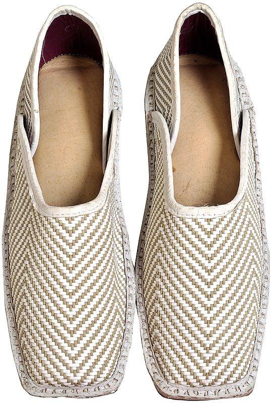 White Slip-On Matted Shoes for Men
