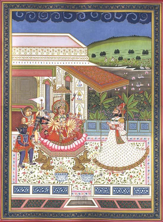 Maharaja Mansingh Worshipping Devi