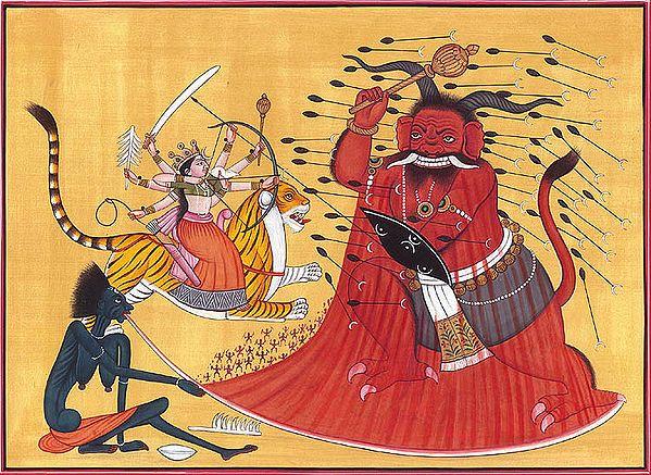 Annihilation of Raktabija by Goddess Durga and Kali