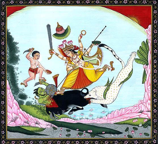 Goddess Durga and Bhairava Annihilate the Demon Mahishasura