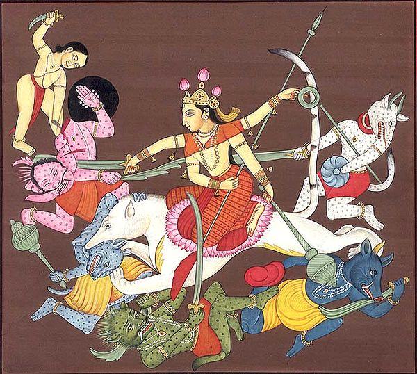 Goddess Durga Slaying Demons