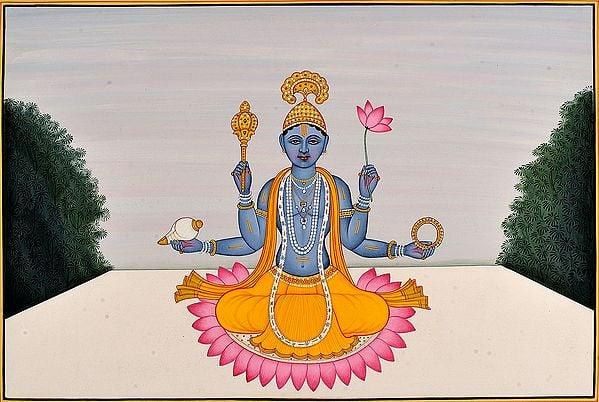 Vishnu Seated on a Lotus (Guler School)