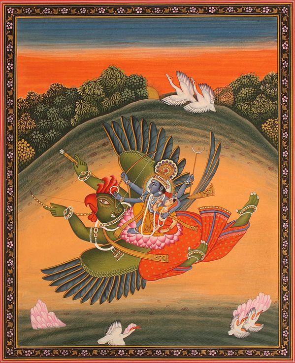 Sri Vishnu and Lakshmi on Garuda