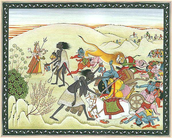 Four-armed Kali Killing Animal-headed Demons