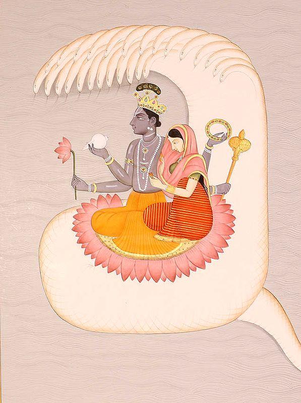 Lord Vishnu with Lakshmi in Kshirasagara, the Ocean of Milk