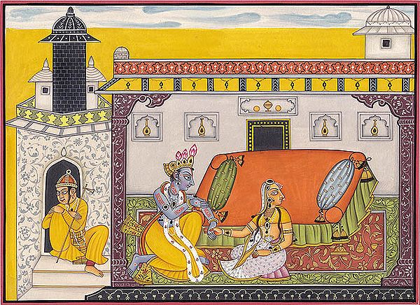 Krishna Pursuing Heroine (A Folio from Nayika-Bheda )