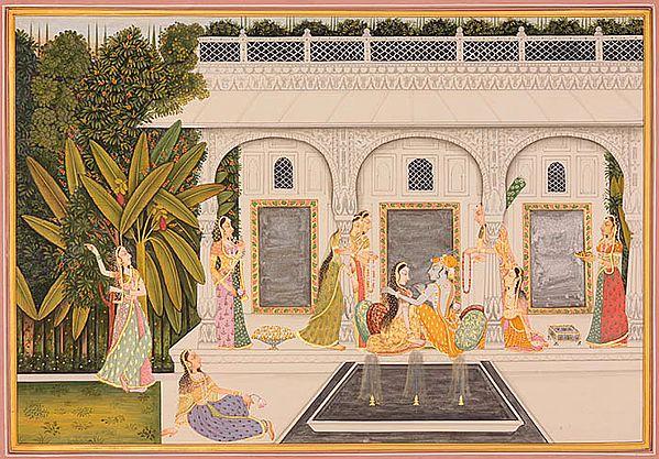 Radha Krishna with Gopis (Kishangarh Style)