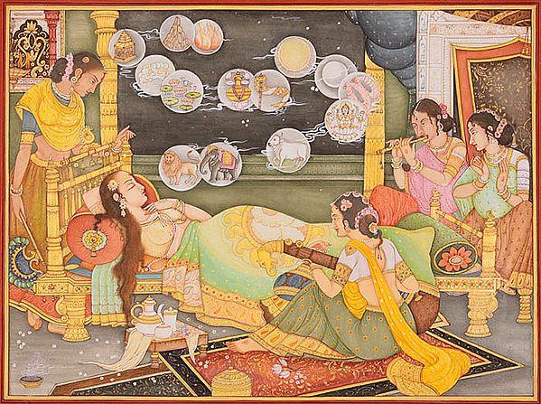 Fourteen Dreams of Trishala, the Mother of Tirthankara Mahavira (An Important Jain Painting)