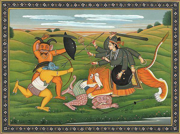 Lion-riding Durga Killing Demons