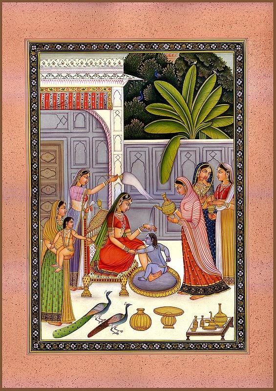 Baby Krishna Resists His Bath