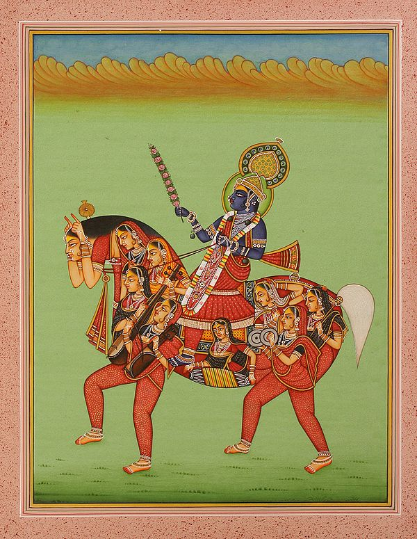 King Riding a Horse Composed Maidens