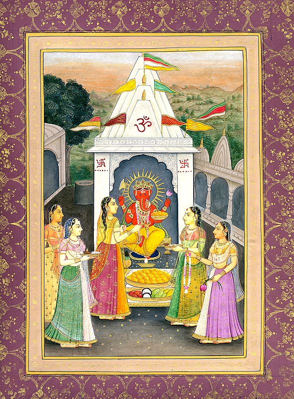 The Noble Lady Performing Arti of Lord Ganesha
