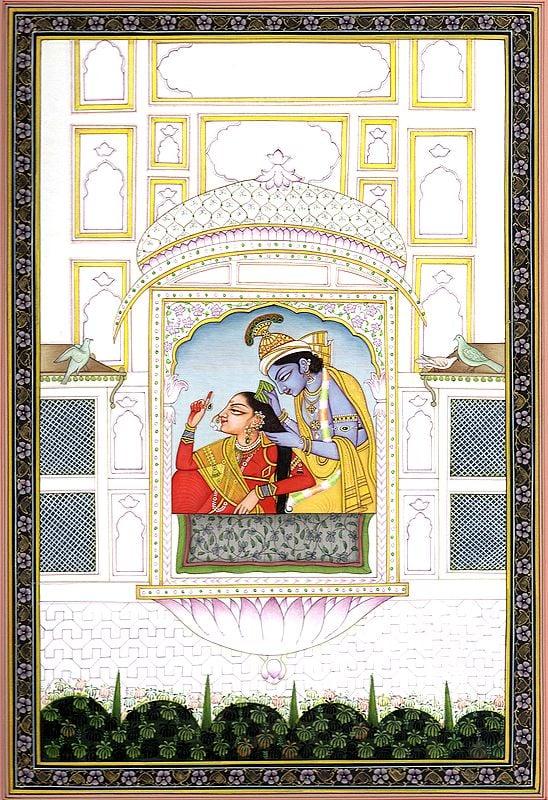 Krishna Combing Radha's Hair