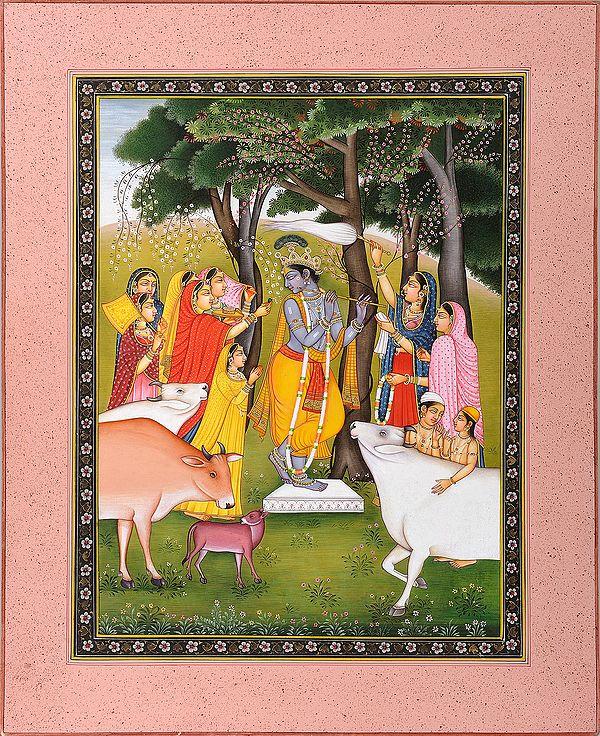 Gopis Pleasing Krishna
