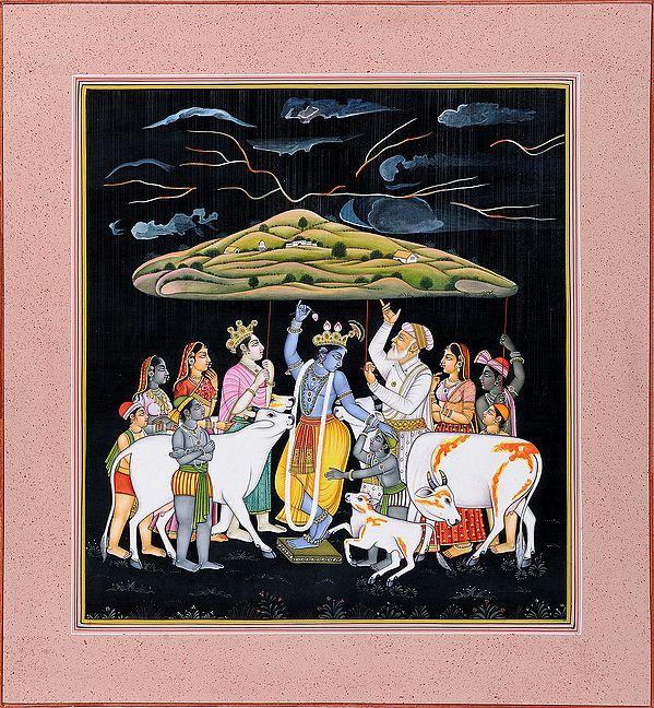 Lord Krishna Lifts Mount Govardhan