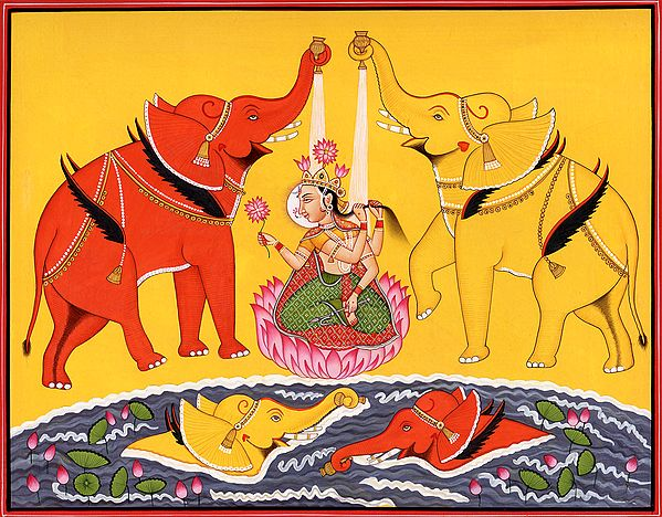 Goddess Lakshmi Bathed by Elephants