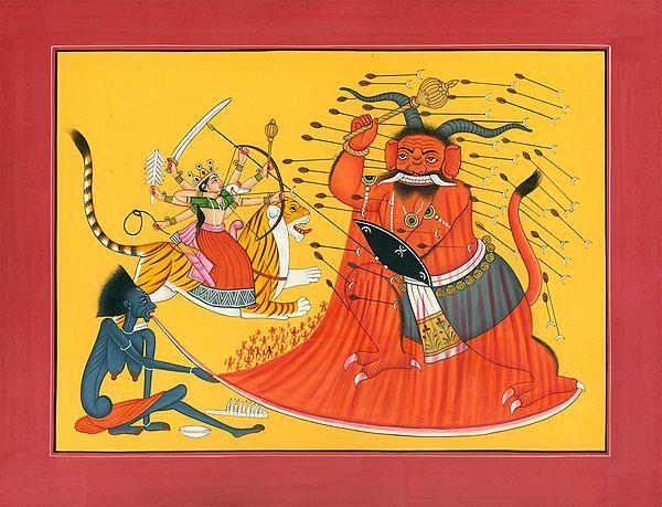 Durga Killing Demon Rakta-bija