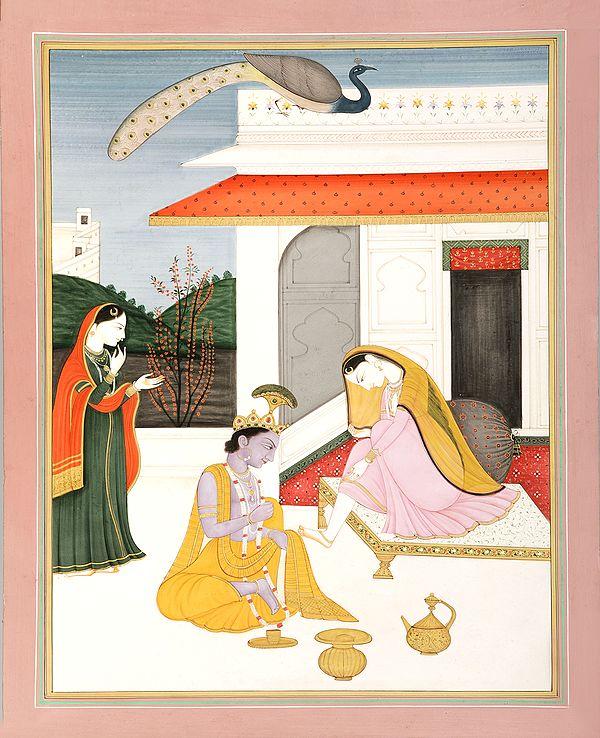 Krishna Applying Henna On Radha's Feet