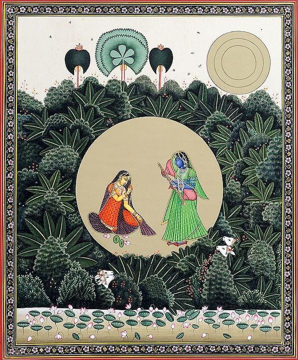 Krishna Disguised as a Gopi Teasing Radha