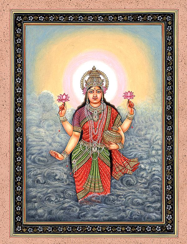 The Birth Of Lakshmi, A Symbolic Pot Of Wealth In Her Hand