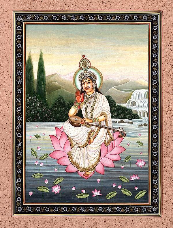 The Serene Padmasana Devi Sarasvati