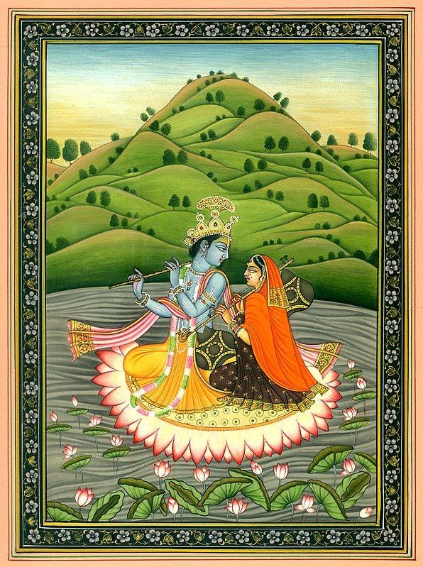 Radha Krishna on Lotus Boat