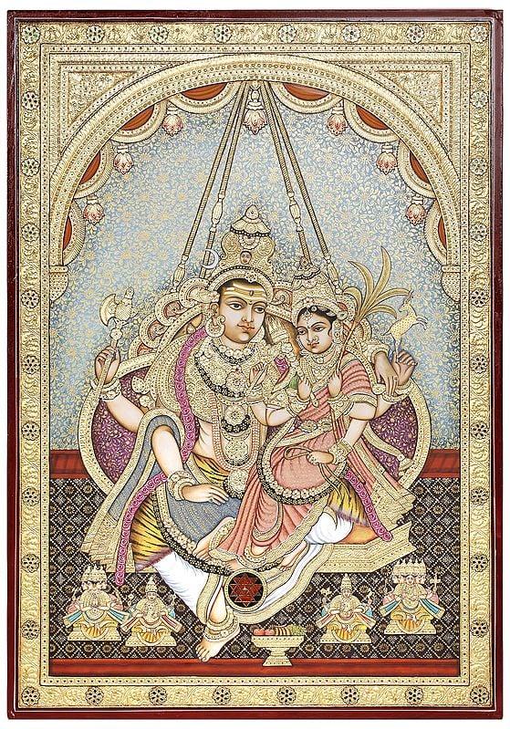 Lord Shiva With Devi Rajarajeshvari