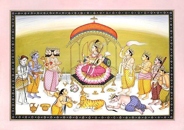 Devi Worshipped By Brahma, Vishnu and Shiva