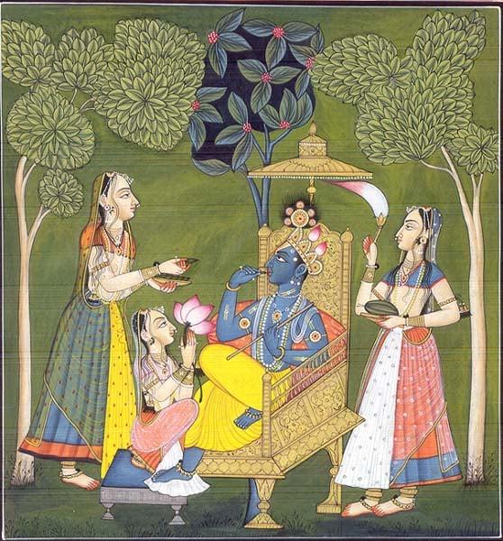 Krishna and Gopikas in the Garden of Love