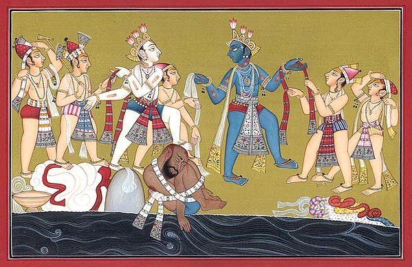 Krishna Chastising the Rajakabadha (A folio from Bhagawat-Purana)
