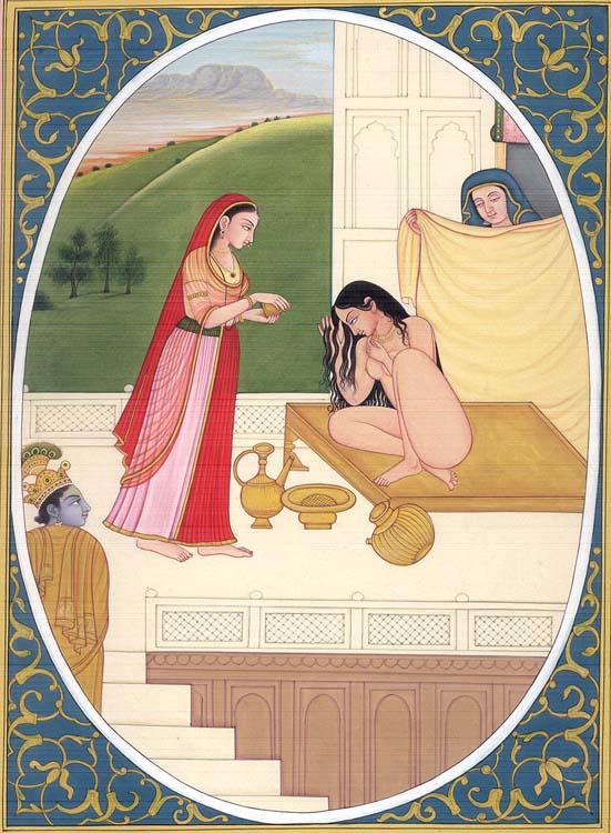 Krishna Spying on a Bathing Radha